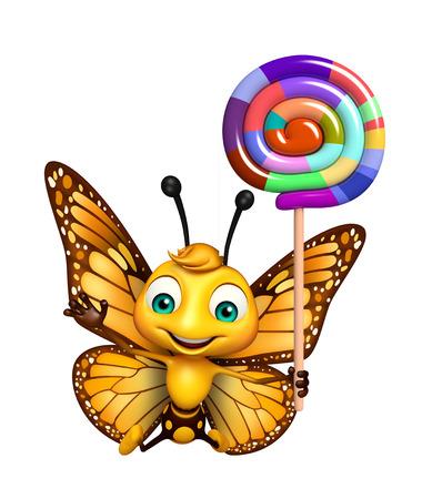 ロリポップと蝶の漫画のキャラクターの 3 d レンダリングされたイラストレーション