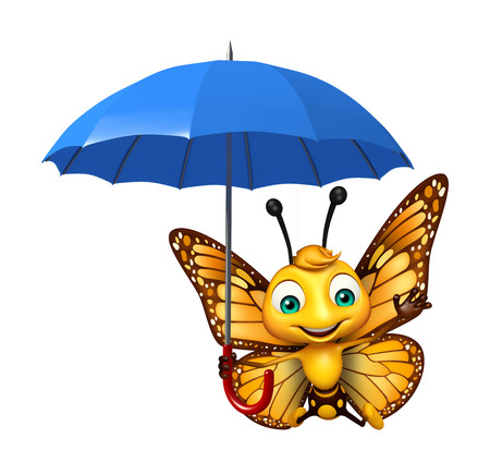 aerials: 3d rendered illustration of Butterfly cartoon character with umbrella Stock Photo