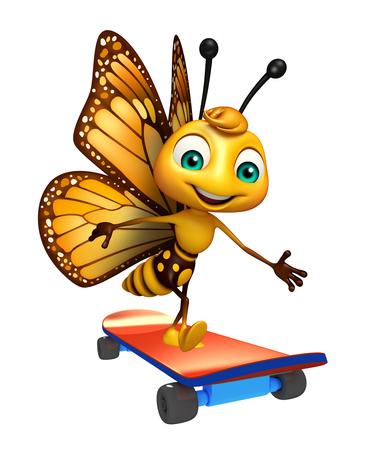 スケート ボードの蝶アニメ キャラクターの 3 d レンダリングされたイラストレーション