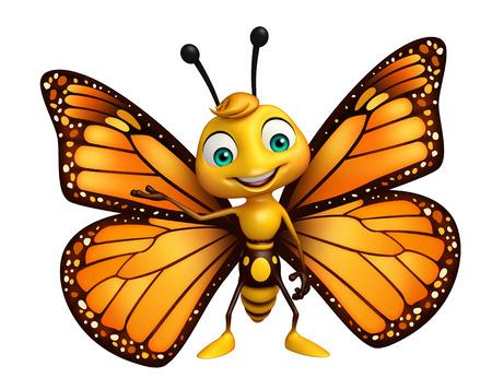 面白い蝶の漫画のキャラクターの 3 d レンダリングされたイラストレーション 写真素材 - 53097254