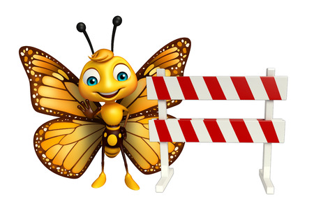 constuction: 3d rendered illustration of Butterfly cartoon character with baracade