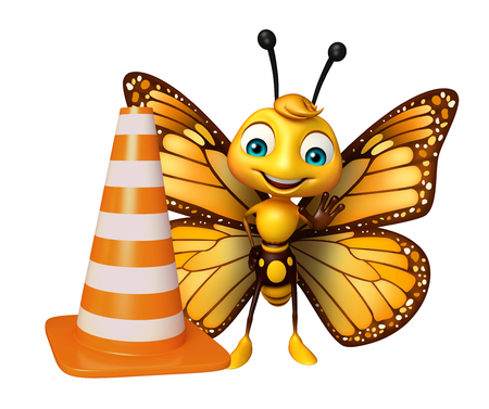 aerials: 3d rendered illustration of Butterfly cartoon character with construction cone