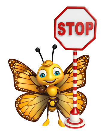 aerials: 3d rendered illustration of Butterfly cartoon character with stop sign