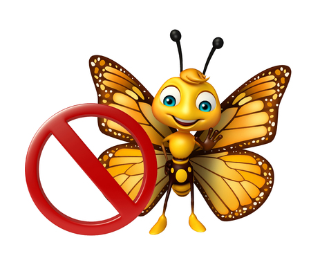 一時停止の標識で蝶の漫画のキャラクターの 3 d レンダリングされたイラストレーション