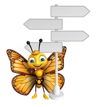 道路の標識と蝶の漫画のキャラクターの 3 d レンダリングされたイラストレーション 写真素材