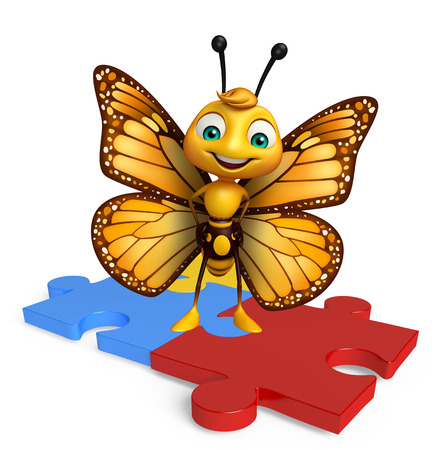 jig saw puzzle: 3d rendered illustration of Butterfly cartoon character with puzzle