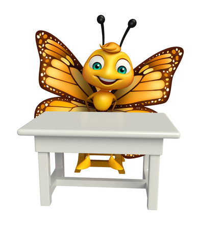 aerials: 3d rendered illustration of Butterfly cartoon character with table and chair Stock Photo