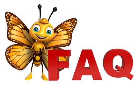 3d rendered illustration of Butterfly cartoon character with faq sign Stok Fotoğraf