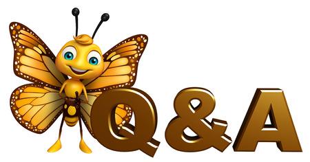 Q&A サインと蝶の漫画のキャラクターの 3 d レンダリングされたイラストレーション 写真素材