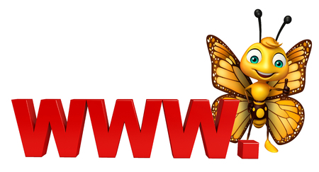 3d rendered illustration of Butterfly cartoon character with www. sign