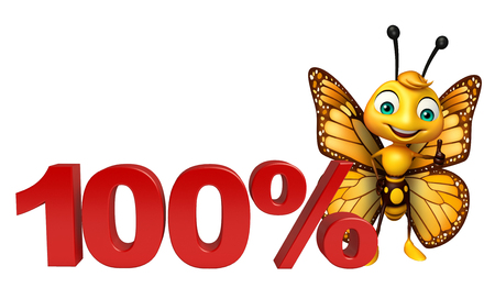 3d butterfly: 3d rendered illustration of Butterfly cartoon character with 100% sign