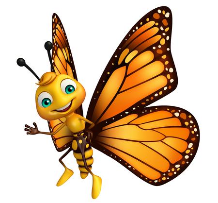 蝶の漫画のキャラクターを指しての 3 d レンダリングされたイラストレーション 写真素材 - 53097311