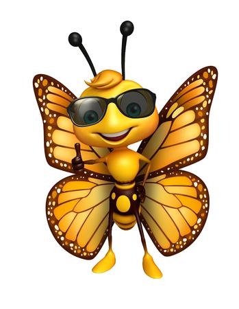サングラスと蝶の漫画のキャラクターの 3 d レンダリングされたイラストレーション