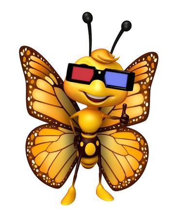 3 D gogal と蝶の漫画のキャラクターの 3 d レンダリングされたイラストレーション