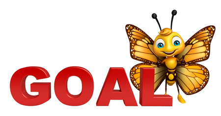 3d butterfly: 3d rendered illustration of Butterfly cartoon character with goal sign