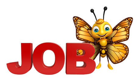 job hunting: 3d rendered illustration of Butterfly cartoon character with job sign