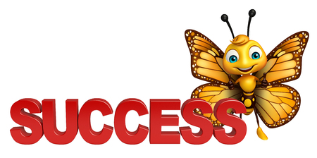 3d rendered illustration of Butterfly cartoon character with success Stok Fotoğraf