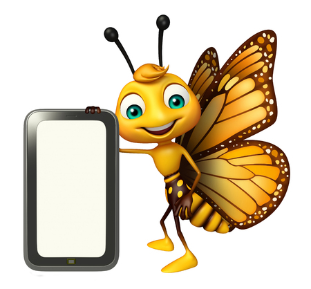 3d butterfly: 3d rendered illustration of Butterfly cartoon character with mobile