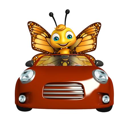 車で蝶の漫画のキャラクターの 3 d レンダリングされたイラストレーション 写真素材 - 53097317