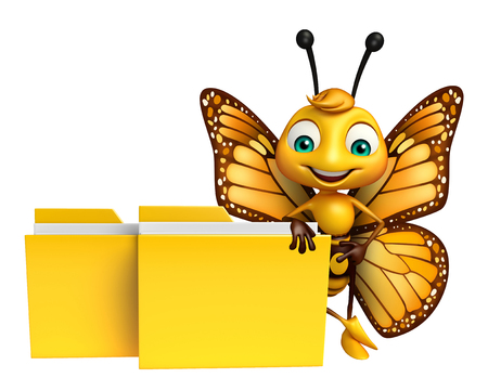 aerials: 3d rendered illustration of Butterfly cartoon character with folder