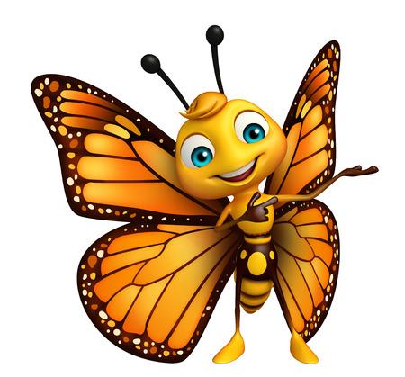 面白い蝶の漫画のキャラクターの 3 d レンダリングされたイラストレーション 写真素材 - 53097319