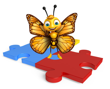 aerials: 3d rendered illustration of Butterfly cartoon character with puzzle