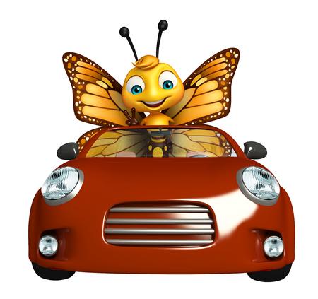 車で蝶の漫画のキャラクターの 3 d レンダリングされたイラストレーション