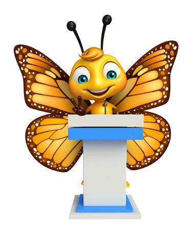 演説の段階と蝶の漫画のキャラクターの 3 d レンダリングされたイラストレーション 写真素材 - 53097325