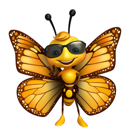eyewear fashion: 3d rendered illustration of Butterfly cartoon character with sunglass Stock Photo