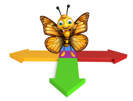 aerials: 3d rendered illustration of Butterfly cartoon character with arrow