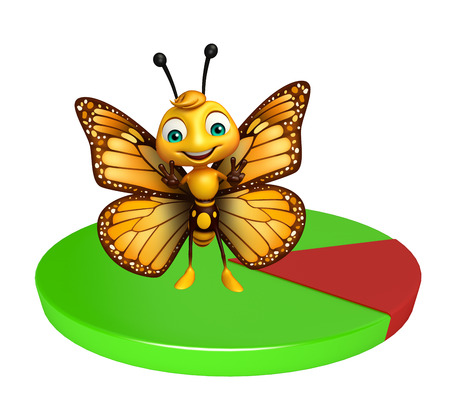 aerials: 3d rendered illustration of Butterfly cartoon character with circle sign