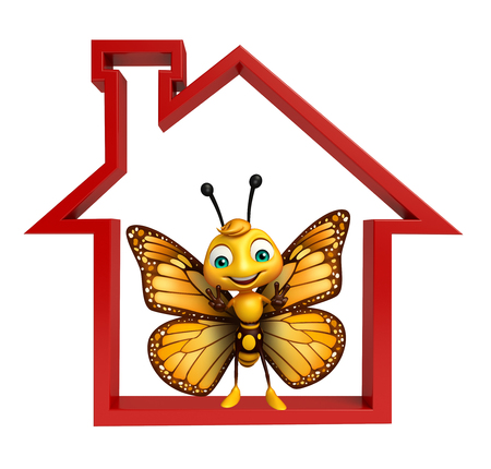 aerials: 3d rendered illustration of Butterfly cartoon character with home sign
