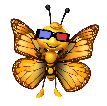 cinema viewing: 3d rendered illustration of Butterfly cartoon character with 3D gogal