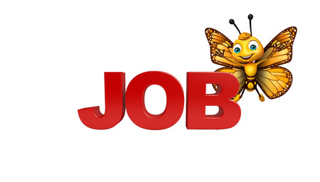 aerials: 3d rendered illustration of Butterfly cartoon character with job sign