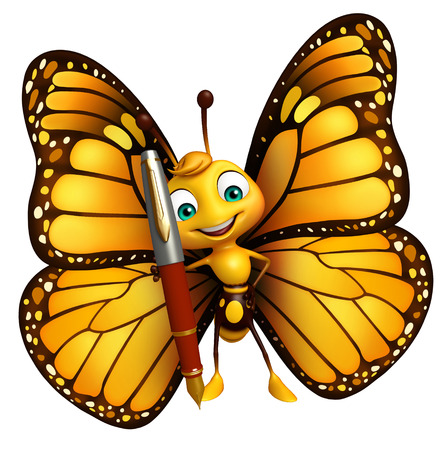 aerials: 3d rendered illustration of Butterfly cartoon character  with pen