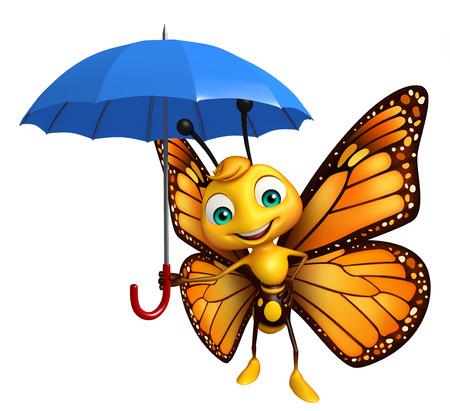 傘で蝶の漫画のキャラクターの 3 d レンダリングされたイラストレーション