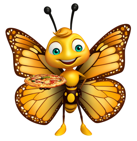 ピザと蝶の漫画のキャラクターの 3 d レンダリングされたイラストレーション 写真素材 - 53097390