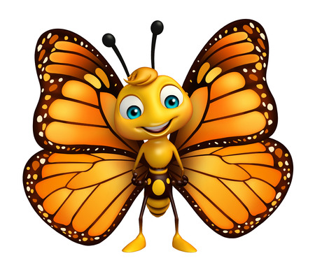 面白い蝶の漫画のキャラクターの 3 d レンダリングされたイラストレーション 写真素材 - 53097393