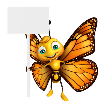 aerials: 3d rendered illustration of Butterfly cartoon character with board