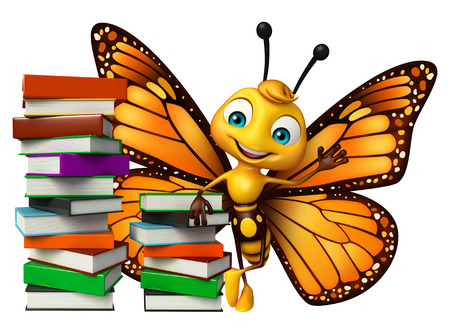 3d butterfly: 3d rendered illustration of Butterfly cartoon character with books