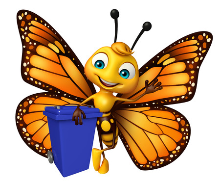 dustbin: 3d rendered illustration of Butterfly cartoon character with dustbin