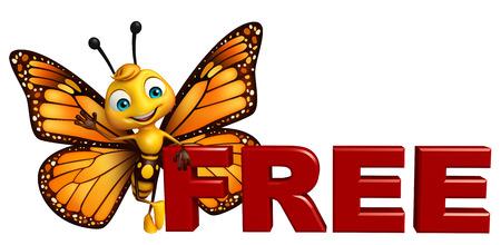 無料サインアップと蝶の漫画のキャラクターの 3 d レンダリングされたイラストレーション 写真素材 - 53097403