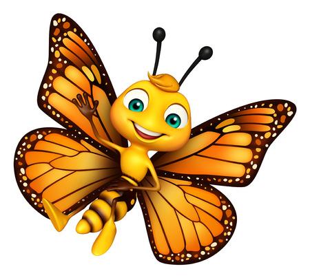 面白い蝶の漫画のキャラクターの 3 d レンダリングされたイラストレーション 写真素材 - 53165940