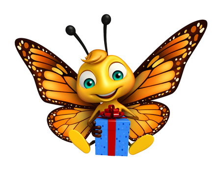 3d butterfly: 3d rendered illustration of Butterfly cartoon character with giftbox