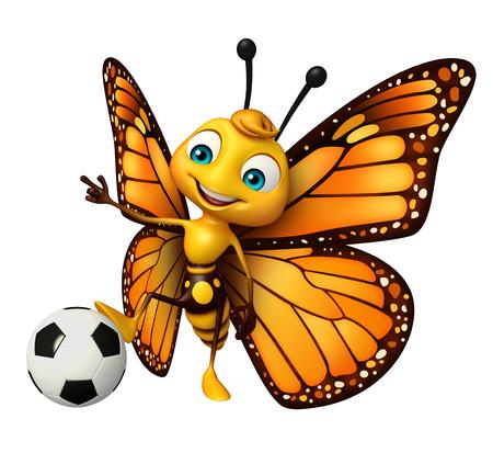 サッカーと蝶の漫画のキャラクターの 3 d レンダリングされたイラストレーション