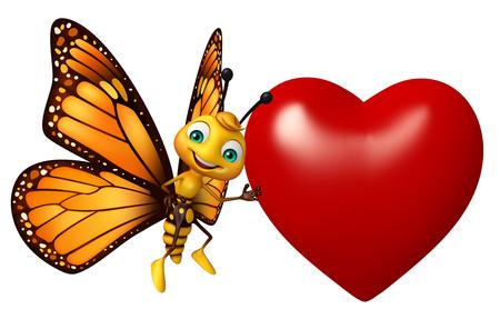 ハートと蝶の漫画のキャラクターの 3 d レンダリングされたイラストレーション