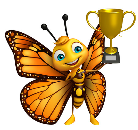 aerials: 3d rendered illustration of Butterfly cartoon character with winning cup Stock Photo