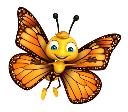 面白い蝶の漫画のキャラクターの 3 d レンダリングされたイラストレーション 写真素材 - 53165950