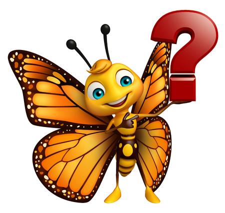 質問記号で蝶の漫画のキャラクターの 3 d レンダリングされたイラストレーション