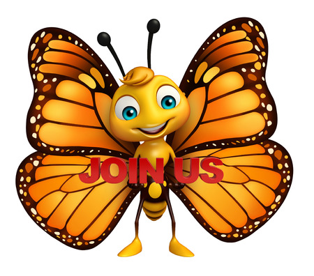 aerials: 3d rendered illustration of Butterfly cartoon character with join us sign
